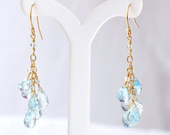 14K Gold. Sky Blue Topaz earrings, December Birthstone Earrings, Bleu Topaz Chandelier Earrings, Blue Stone Earrings, Gift For Her