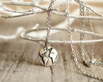 Globe Necklace in Silver, Earth Charm, World Travel Accessory