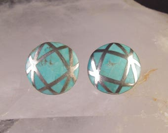 Larimar or Atlantis Stone and 925 Sterling Silver Clip On Button Earrings, Small But Gorgeous!