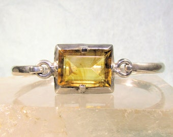 Solid 925 Sterling Silver and Amber Swirl Glass Rectangular Pinch Hook Bracelet, Taxco TC-78