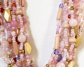 Vintage Joan Rivers Pink Multi Stranded Beaded Necklace