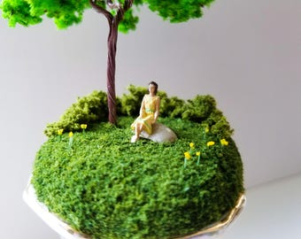 Miniature World Woman in Yellow Sitting in the Park Antique Dish Vase Handmade One of a Kind Art Walk in the Woods Nature Walk Railroad Moss