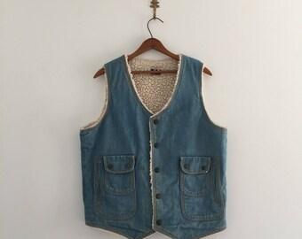 Vintage 70's Denim Shearling Vest L XL