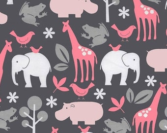 """SUMMER SALE Fat Quarter Only (18""""x22"""") of BLOOM Zoology From Michael Miller - Out of Print"""