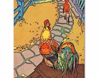 "Rooster Nursery Fox Print (Girls Room Decor, Baby Boys Wall Art) ""Rooster & Fox"" -- Fairy Tale Artwork"