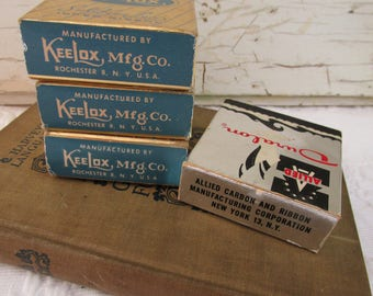 Vintage Lot Typewriter Ribbon/Original Cardboard Boxes/Original Spools/Retro Advertising/Kee Lox Mfg Co/Duralon Mfg/Office Display/