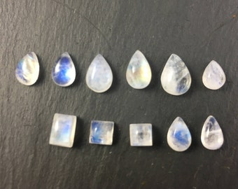 Rainbow Moonstone Natural Cabochons | Lot of 11 | Semiprecious Gemstones