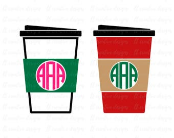 Coffee Cup SVG, Coffee Monogram SVG, Coffee Cup to go SVG, Silhouette Files, Cricut Files