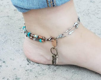 Turquoise Anklet Cross Anklet Feather Anklet Southwestern Beaded Anklet Mixed Metal New Mexico Arizona Boho Ethnic Ankle Bracelet Rustic