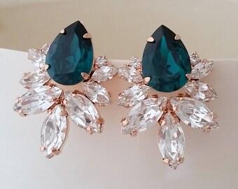 Emerald Earrings,Rose gold earrings,Large Bridal Earrings,stud Earrings,Bridesmaids Earrings,Emerald Bridal Earrings,Emerald swarovski studs