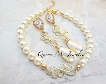 Gold pearl jewelry set, Gold pearl bracelet and earring set,Brides pearl jewelry set,Filigree scrolls, Swarovski pearl set,Elegant -KAY