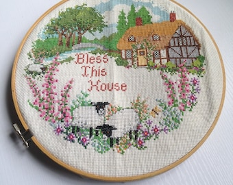 Nicely Done Vintage Counted Cross Stitch BLESS THIS HOUSE