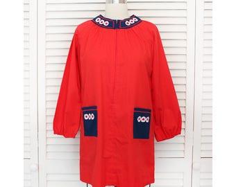 Vintage Red Daisy Long Sleeve Mini Dress / 1960s 1970s Hippie Boho Blouse / Small Medium