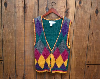 Vintage 80s Argyle Yellow Purple Green Hand Knitted Sweater Vest by Jack Winter