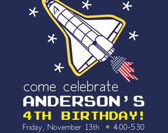 Outer Space Birthday Party Invitation | Outer Space Birthday | Rocketship Birthday Party