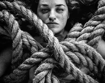 "Black & White Print \ Fine Art Photo \ Ropes Sadness Grief Loss Pain \ ""Mortal Coil"""