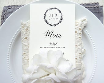 Wedding Menu  |  Instant Download PDF - Printable Wedding Menu  |  Menu  |  Instant Download Template  |  Monogram Collection Style 03