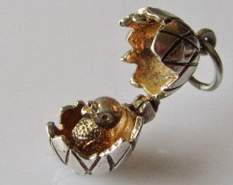 Vintage Silver CHIM Egg & Chick Charm Opens