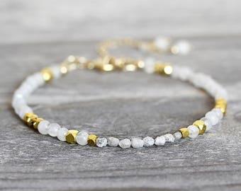 Skinny White Diamond Bracelet - Dainty Moonstone Bracelet - Skinny Bracelet for Women - Rough Diamond Bracelet - White Bracelet
