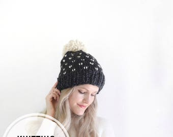 Knitting Pattern | Womens Slouchy Hat Beanie Pom Fair Isle Instant Download / Easy Beginner Pattern Fall Fashion Winter Style Polka Dot Hat