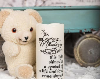 LED lights - wedding memorial candle - miscarriage gift - custom pillar candle - sympathy gift - In Loving Memory - Flameless candles