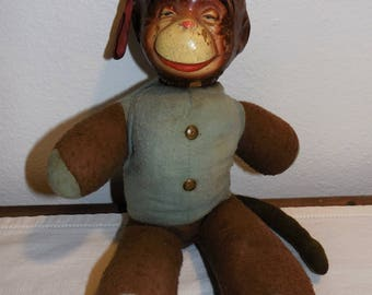 Antique vintage composition & cloth monkey doll 1930's ~ Monko the monkey toy