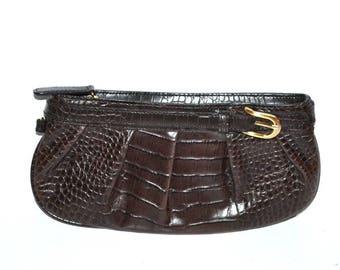 Vintage Ann Taylor Loft  brown embossed leather wristlet  small purse evening bag wallet make up designer bag genuine leather purse NOS