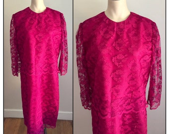 Vintage 1960s Misses' Fuchsia Pink Lace Dress 10 12 14