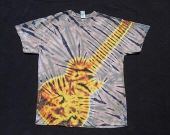 Les Paul Guitar Fire Tie Dye Large Shirt #313