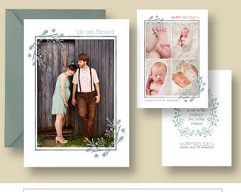 Christmas Photo Card Template, We are Blessed, Holiday Card Template, Gold Wreath, Photoshop Template, Rose Gold, CC20182, INSTANT DOWNLOAD