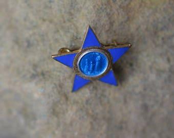 Blue Enamel Star shape Notre Dame De La Salette Antique Patron Saint Brooch, Catholic Jewelry, Vintage Religious Supplies