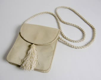 Genuine Snakeskin Small Off White Crossbody Bag With Twisted Strap and Tassel