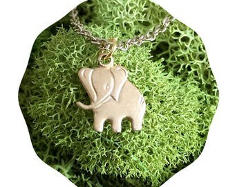 60% OFF SALE Baby elephant necklace - Teeny tiny charm - gold jewelry - little elephant animal - Lucky affirmation card - Humane Society