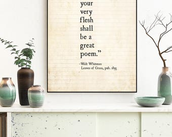 Walt Whitman Quote Wall Art, Walt Whitman Poetry Print, Literary Art, Leaves of Grass, Book Page Art, Whitman Poetry Art, Literary Art Print