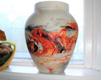 """Large 13.5"""" Nemadji Pottery Vase Swirl Pattern Vintage Southwestern Decor"""