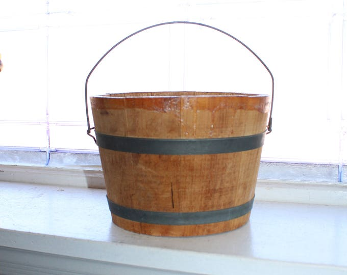 Antique Wood Bucket with Bale Handle Rustic Farmhouse Decor