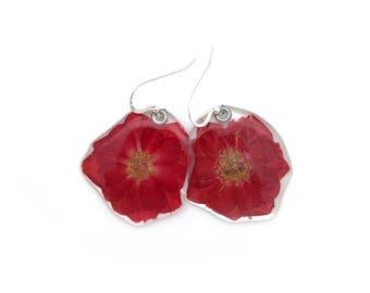 Gardener Gift, Nature Lover, Real Red Rose earrings, pressed flower, woodland earrings, nature made earrings