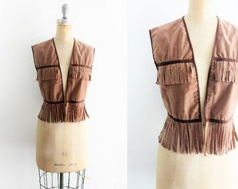 Vintage Wild West Vest Suede Fringe Vest Annie Oakley Vest Calamity Jane Vest Pocahontas Costume Wild West Costume Indian Small Medium Large