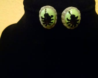 Hand-Painted Clay Green and Black Spider Earrings