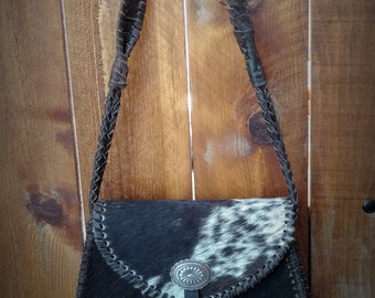 Black and White Cowhide Purse with Concho
