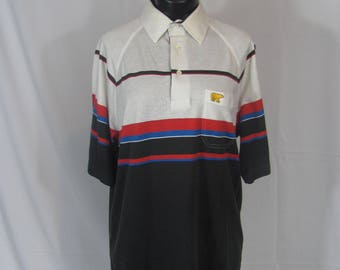 Mens Vintage Polo Shirt Golden Bear By Jack Nicklaus Short Sleeve Striped Retro Collared Tshirt