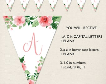 Printable Bunting Banner, Pink Birthday, Christening, Baptism, Baby shower, Alphabet Numbers, Watercolour, flowers, floral DIY banner, Decor