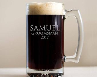 Personalized Groomsman Beer Mug: Large Engraved Groomsmen Beer Mugs, Groomsman Beer Mug, Custom Groomsmen Steins, SHIPS FAST