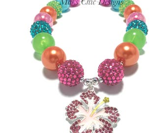 Toddler or Girls Pink Hibiscus Chunky Necklace - Pink, Orange, Green, Turquoise Necklace - Girls Tropical Chunky Necklace - Luau Necklace