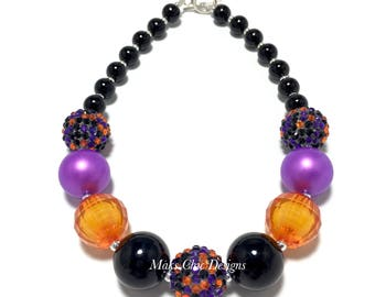 Toddler or Girls Halloween Chunky Necklace - Orange, Black and Purple Chunky Necklace - Witch costume necklace - Pumpkin Chunky Necklace