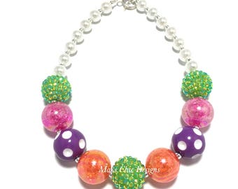 Toddler or Girls Halloween Chunky Necklace - Orange, Green, Purple and Hot Pink Chunky Necklace - Monster Necklace - Girls Halloween Rainbow