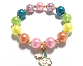 Toddler or Girls Small Beaded Rainbow Charm Bracelet - Pink, Orange, Yellow, Green, Teal and Lavender Bracelet - Pastel Rainbow Bracelet