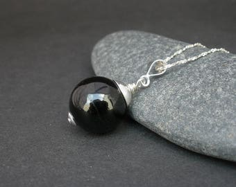 Natural Black Tourmaline 14mm Round Ball Pendant, 925 Sterling Silver,  Black Tourmaline Pendant