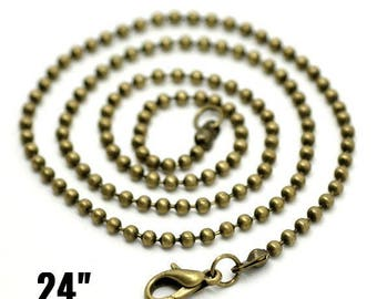 "2.4mm Ball Chain Necklaces - Antique Bronze - 24"" - 4pcs - Ships IMMEDIATELY from California - CH754"