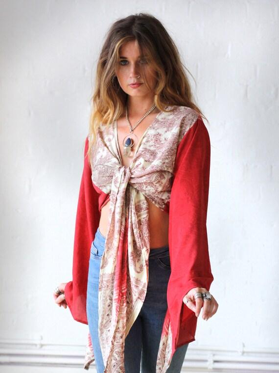 JAPANESE SILK TOP - Bell sleeve crop top- Silk Tie Top- Vintage- Festival Top- Hippie- Retro- 70s- Crop Top- 100% Silk- Couture